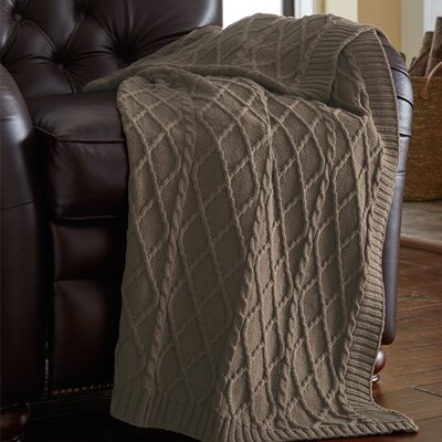 Greenburgh Cable Diamond Knit Throw Color: Taupe