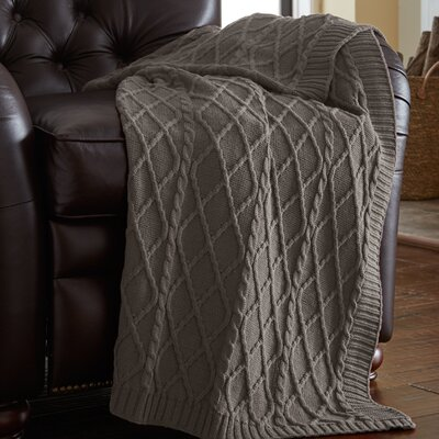 Greenburgh Cable Diamond Knit Throw Color: Gray