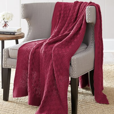 Weaver Cotton Throw Blanket Color: Cherry Red