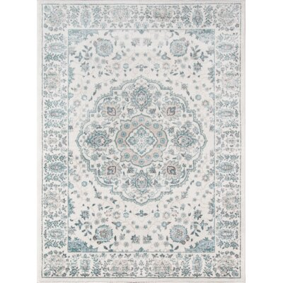 Kinsley Blue/Ivory Area Rug Rug Size: 53 x 76