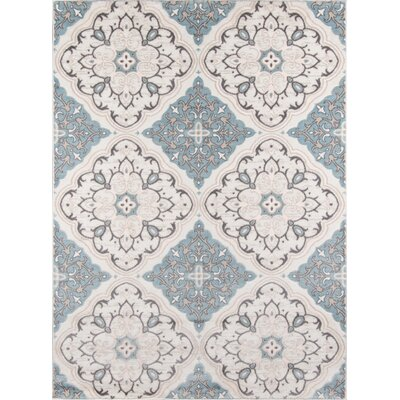 Kinsley Blue/Ivory Area Rug Rug Size: Rectangle 710 x 910
