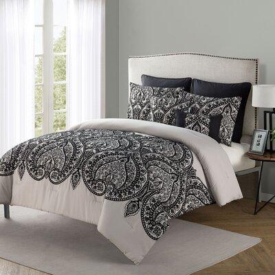 Fernville 7 Piece Comforter Set Size: King, Color: Black/Tan