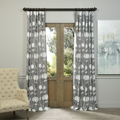 Sturges Embroidered Thermal Single Curtain Panel Size: 50 W x 96 L, Color: Grey