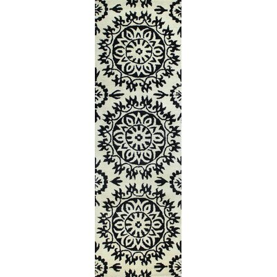 Alcott Hill Nathan Hand-Tufted Flora Ivory/Black Area Rug