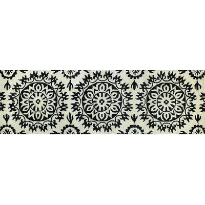 Nathan Hand-Tufted Flora Ivory/Black Area Rug Rug Size: Runner 26 x 8