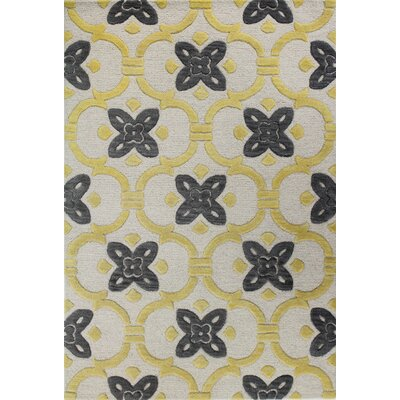 Nolan Hand-Tufted Ivory/Gold Area Rug Rug Size: 86 x 116
