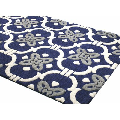 Nollet Hand-Tufted Navy Area Rug Rug Size: 36 x 56