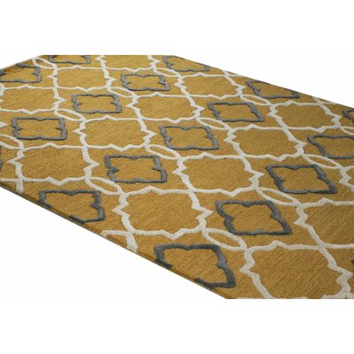 Oakcrest Hand-Tufted Gold Area Rug Rug Size: 76 x 96
