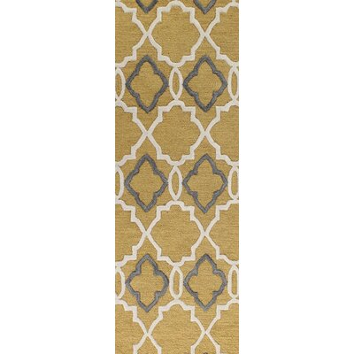 Oakcrest Hand-Tufted Gold Area Rug Rug Size: Runner 26 x 8