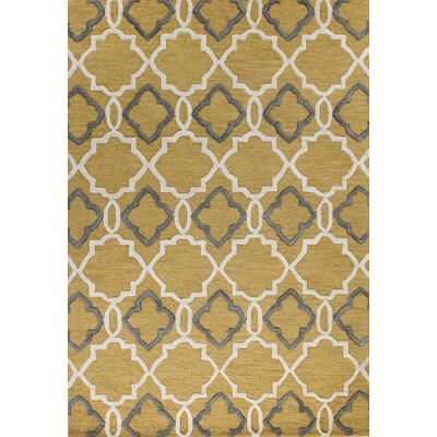 Oakcrest Hand-Tufted Gold Area Rug Rug Size: 36 x 56