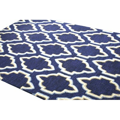 Hermanson Hand-Tufted Navy Area Rug Rug Size: 5 x 76