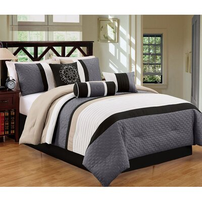 Sharpsburg 7 Piece Comforter Set Size: King, Color: Black/White