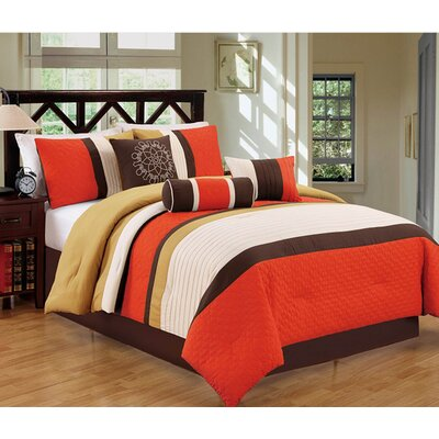 Sharpsburg 7 Piece Comforter Set Size: Full/Queen, Color: Orange/Brown
