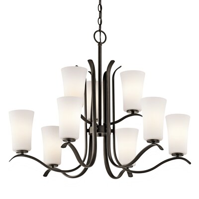 Guerro 9-Light Shaded Chandelier Finish: Olde Bronze