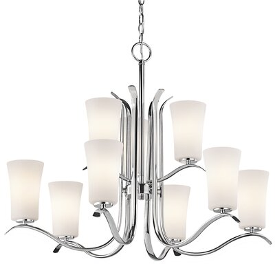 Guerro 9-Light Shaded Chandelier Finish: Chrome
