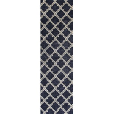 Hartwell Blue Geometric Wool Hand-Tufted Area Rug