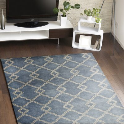 Hirsch Hand-Tufted Denim Area Rug Rug Size: 79 x 99