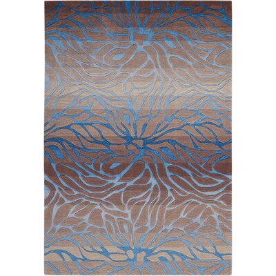 Niwot Hand-Woven Blue/Brown Area Rug Rug Size: 36 x 56