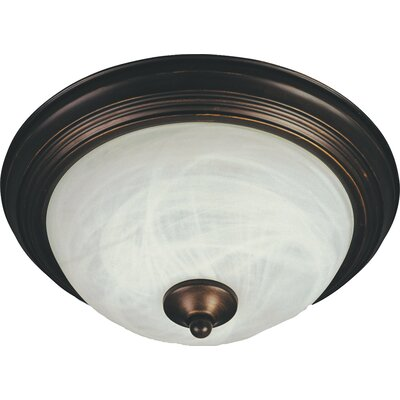 Sprague 1-Light Flush Mount Shade/Finish: Marble/Oil Rubbed Bronze, Size: 6 H x 15.5 W