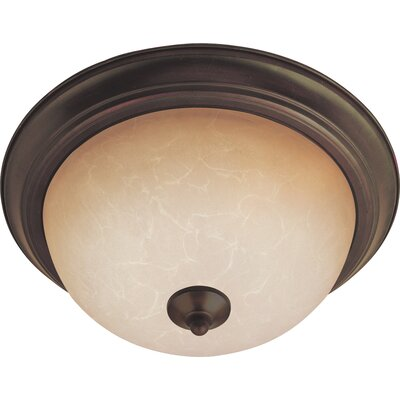 Sprague 1-Light Flush Mount Shade/Finish: Wilshire/Oil Rubbed Bronze, Size: 6 H x 12 W