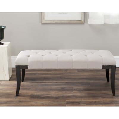 Adele Tufted Two Seat Bench Upholstery: Linen Taupe