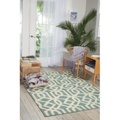 Addingrove Hand-Knotted Aqua/Ivory Area Rug Rug Size: Rectangle 5 x 7