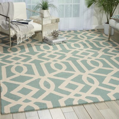 Addingrove Hand-Knotted Aqua/Ivory Area Rug Rug Size: Rectangle 8 x 11