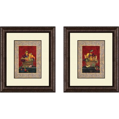 Traditional Fruit Basket 2 Piece Framed Graphic Art Set