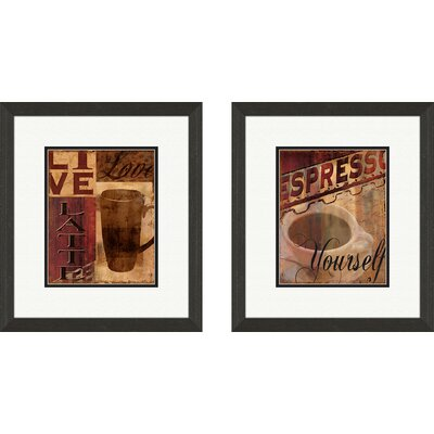'Live, Love, Latte' 2 Piece Framed Graphic Art Set