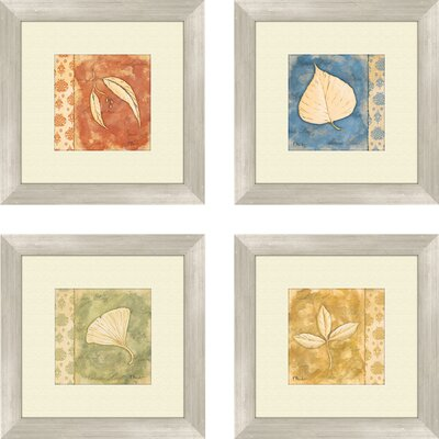 'Leaf Oasis' 4 Piece Framed Graphic Art Set