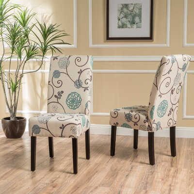 Back East Side Upholstered Dining Chair Upholstery: White/Blue Floral