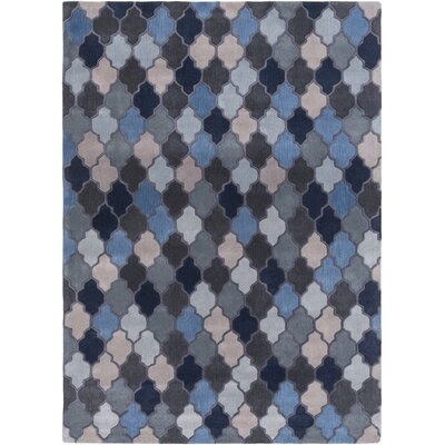 Billmont Slate Geometric Blue Area Rug Rug Size: Rectangle 2 x 3
