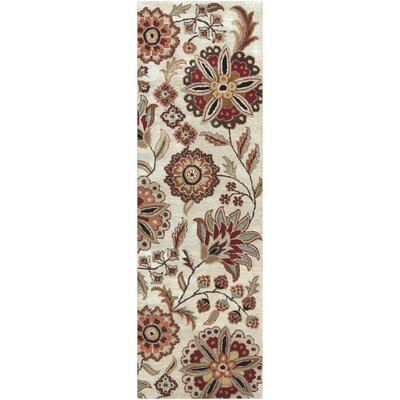 Jasmine Parchment Tufted Wool Area Rug Rug Size: Runner 26 x 8