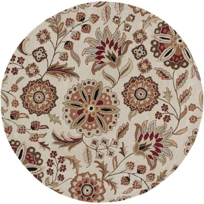 Jasmine Parchment Tufted Wool Area Rug Rug Size: Round 6