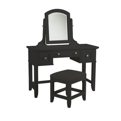 Alcott Hill Marblewood Three Drawer Vanity Set with Mirror