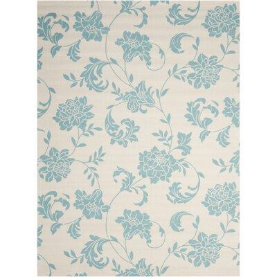 Sigel Blue/Ivory Indoor/Outdoor Area Rug Rug Size: 53 x 75
