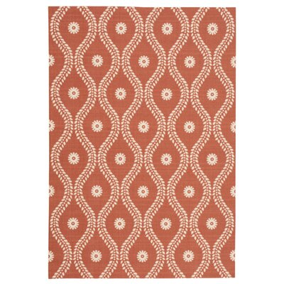 Coyne Rust/White Indoor/Outdoor Area Rug Rug Size: Rectangle 10 x 13