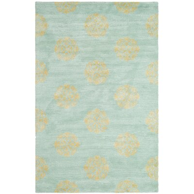 Backstrom Hand-Tufted Turquoise Area Rug