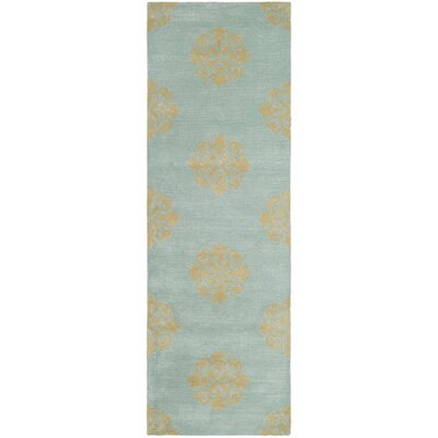 Backstrom Hand-Tufted Turquoise Area Rug Rug Size: Runner 26 x 8
