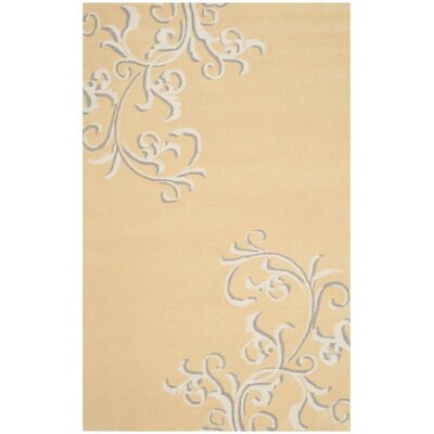 Avalon Vine Hand-Loomed Soft Yellow Area Rug Rug Size: Rectangle 9 x 12