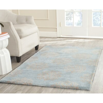 Backstrom Hand-Tufted Turquoise / Yellow Area Rug Rug Size: Rectangle 9 x 12