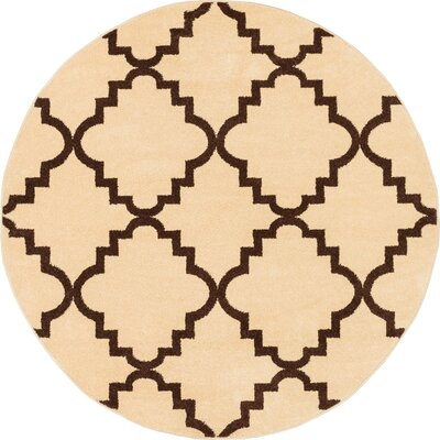 Lewis Lattice Ivory Area Rug Rug Size: Round 53