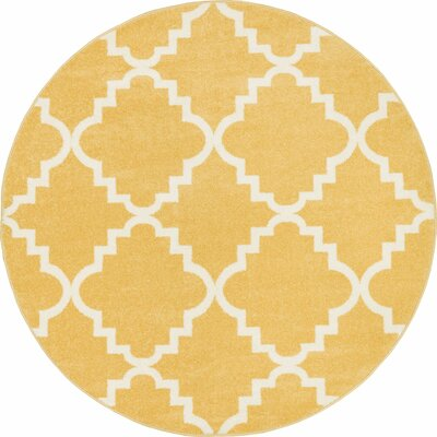 Lewis Lattice Gold Area Rug Rug Size: Round 53