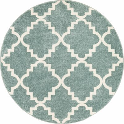 Lewis Lattice Light Blue Area Rug Rug Size: Round 53
