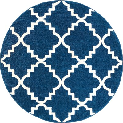 Lewis Lattice Blue Area Rug Rug Size: Round 53