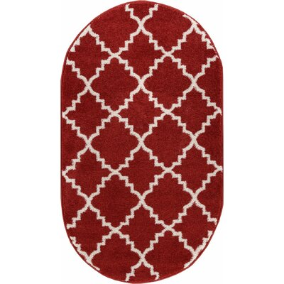 Lewis Lattice Teracotta Area Rug Rug Size: Oval 27 x 42