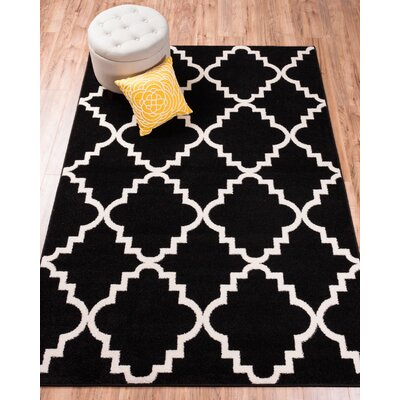 Lewis Lattice Black Area Rug Rug Size: Rectangle 53 x 73