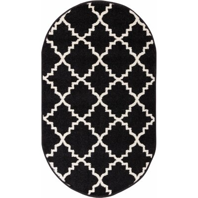 Lewis Lattice Black Area Rug Rug Size: Oval 27 x 42