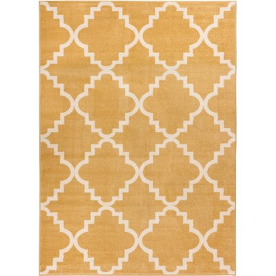 Lewis Lattice Gold Area Rug Rug Size: 53 x 73