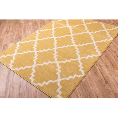 Lewis Lattice Gold Area Rug Rug Size: Rectangle 53 x 73